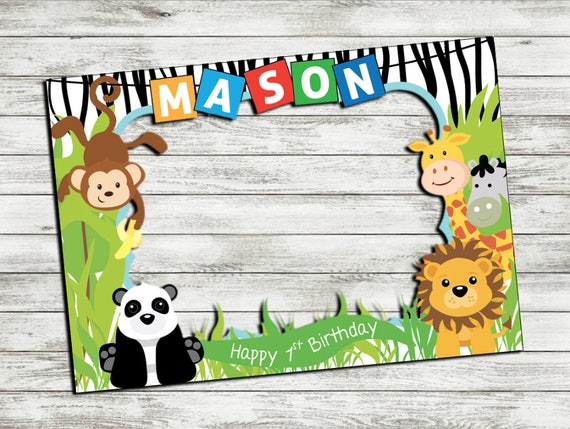 PRINTABLE Jungle Animals photo booth frame, Safari photo booth frame ...