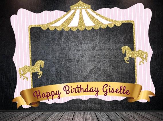 Carrousel Verjaardag Frame Roze Carrousel Verjaardag Frame Etsy