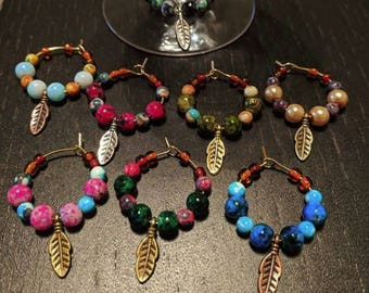 Feathers Leaf Wine Glass Charms - Set of 8