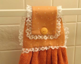 Button on Hanging Hand Towel / Free Shipping / Handmade / Carrot Orange Dotted Print - Carrot Towel