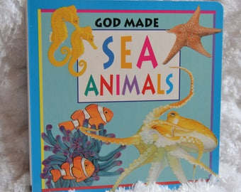 Vintage 90s God Made Sea Animals Hard Cover 1998 Childrens Storybook by Fiammetta Dogi My Little Book of Animals
