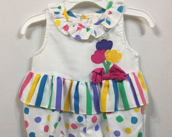 af4ba9d5a Vintage 80s Romper Playsuit Baby Girl Stripes Ruffles Onesie Darling Bubble  12 M 12 months Sun Suit Retro