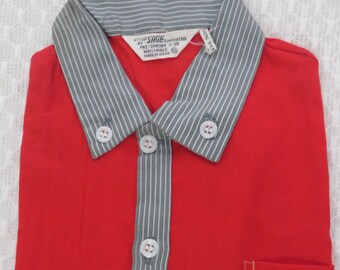 Vintage 1950s Toddler Boys Shirt Red Contrast Button Down Collar New Old Stock NOS Rockabilly 2T 3T Rayon