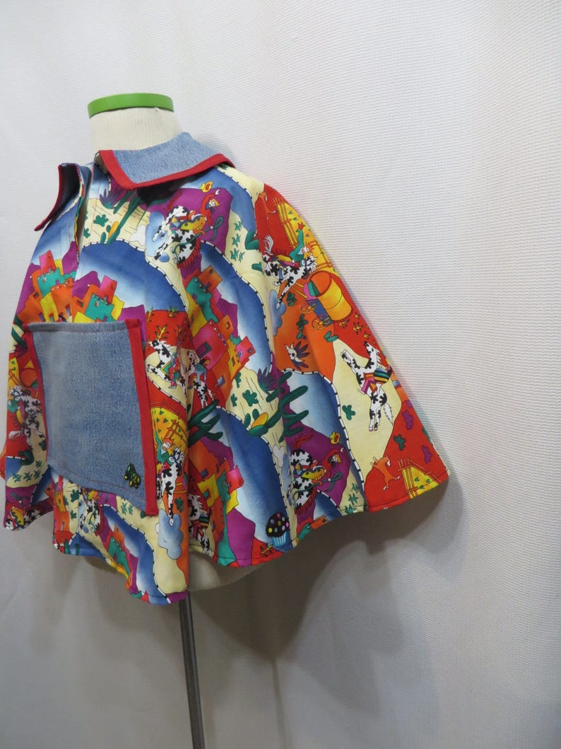 Retro Poncho Southwest Horses Festival 80s Cotton Fabric Hand Made Upcycled Denim All Vintage Materials Caplet Cape Childrens Kids Unisex