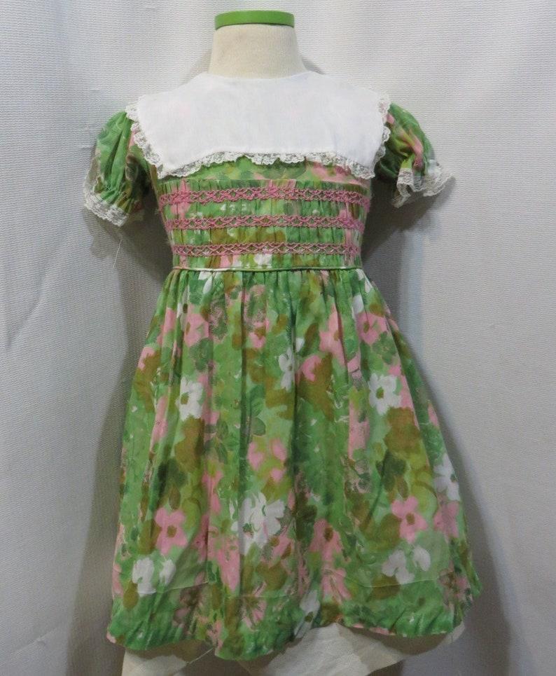 64af39dd77dc Vintage 60s Dress Girls Smocked Smocking Lime Pink Party | Etsy