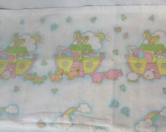 Vintage 70s Blanket Baby Noah Ark Elephants Giraffes Hippos Turtles Animals Acrylic Fleece Nylon Binding Layette Throw Nursery Cannon Sweet