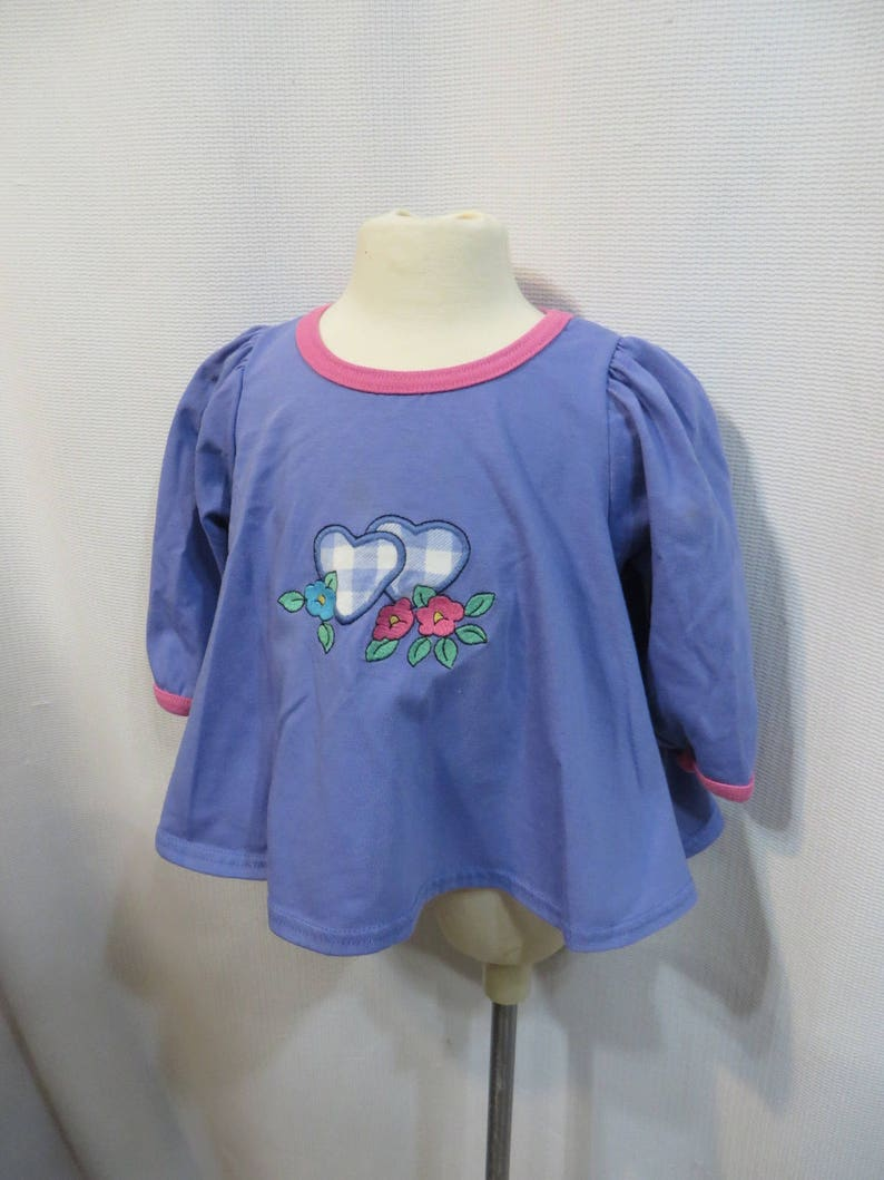 1d6bbf813f1b Vintage 80s Baby Girl Retro Top Shirt Hearts 12 M 12 Months