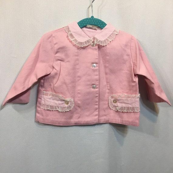 Vintage 50s Jacket Pink Short Crop Baby Girls Cott