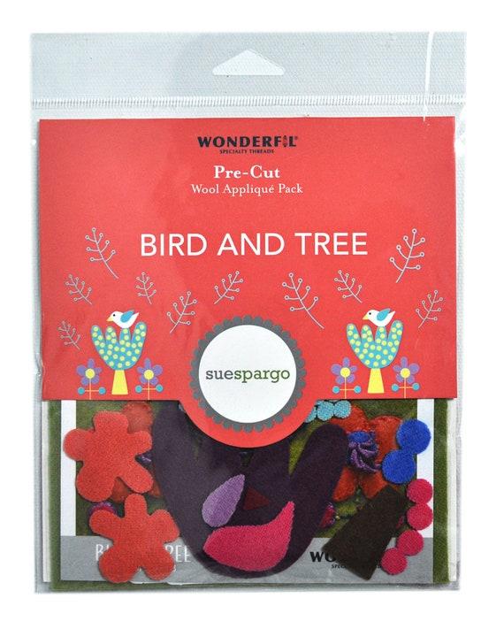 Sue Spargo Pre-Cut Wool Applique Pack Bird /& Tree Colorway 1