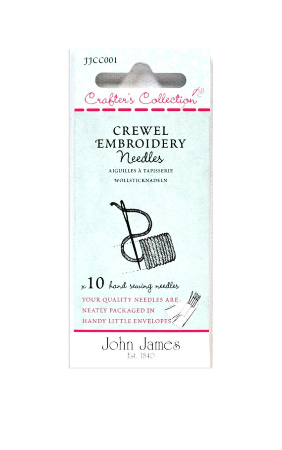 John James Crafters Collection Crewel Embroidery Needles x 10 sizes 18,20,22