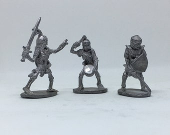3 Piece Pewter Miniature 29mm Figures Skeleton Warriors D&D Dungeons and Dragons Ral Partha 1980's Stamped