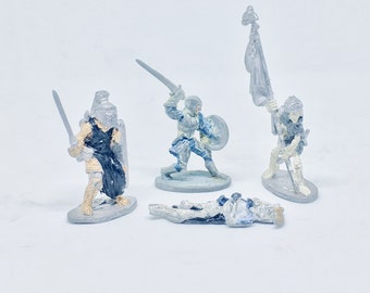 4 Piece Vintage Ral Partha Miniature D&D Dungeons and Dragons Figures Skeletons, Knight,Warrior
