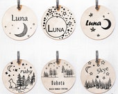 Luna Moon dog tag custom two-sides -gift - Customized Pet ID Tag - Name Tags - Personalized Pet ID Tags - keep calm call my mom