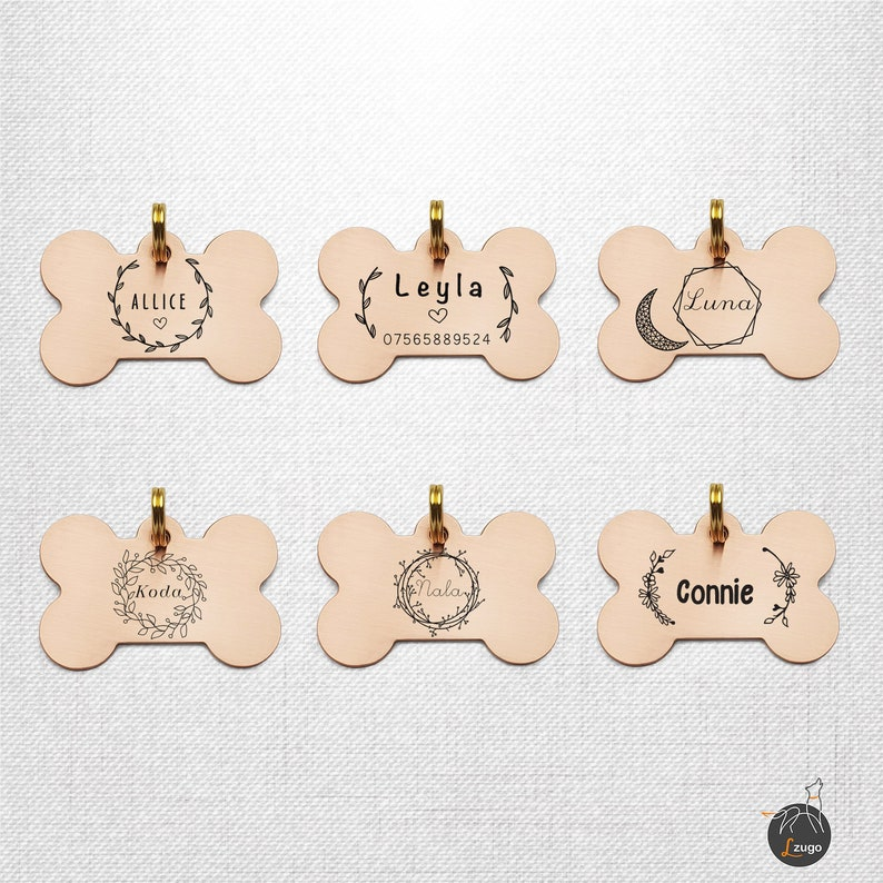 Dog Name Tag | Engraved Floral Dog ID Tag | Trendy Dog Bone Tag for Dog |  Outdoor Tag