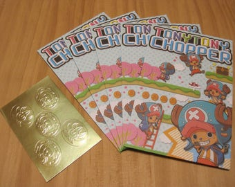 One Piece, Tony Tony Chopper, Small Envelope 5 sheets with Golden Sticker, Pochibukuro, for Gift and Message Cards, Maid in Japan