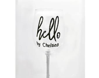 Hello Logo Wine Glass