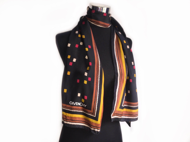 c4f46b282cc Vintage authentique foulard en soie givenchy silencieux en foulard coloré  design unisexe