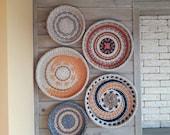 Boho wall art. Set of 5 wall baskets. Wicker round bowl. Wicker wall tray. Bohemian wall decor. Wicker basket. Mother 39 s gift.