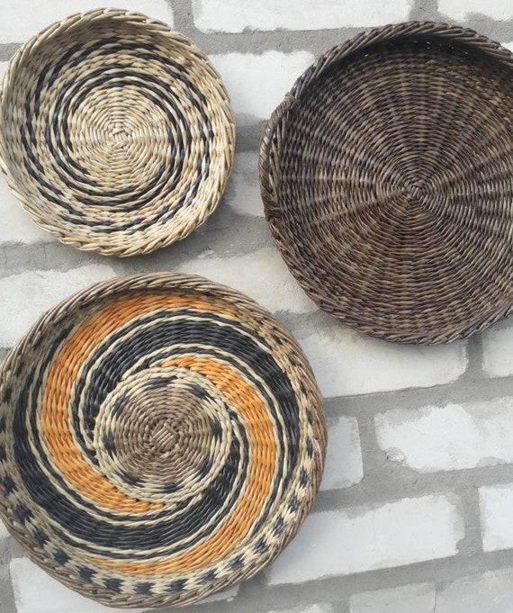 Boho wall art. Set of 3 wall baskets. Wicker round bowl. Wicker wall tray.  Bohemian wall decor. Wicker basket. Mother\'s gift.