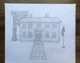 Custom House/Home Drawing, Sketch, Portrait