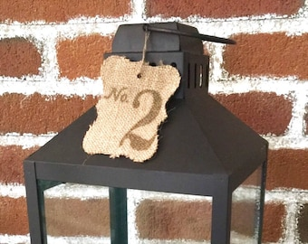 Numbered Burlap Tags - Wedding