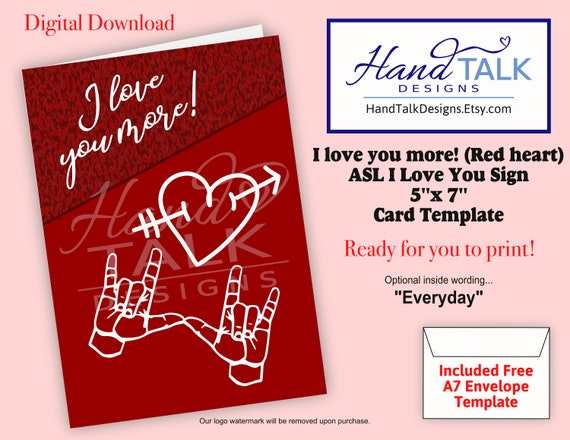 diy asl ily i love you more red heart 5x7 card free etsy