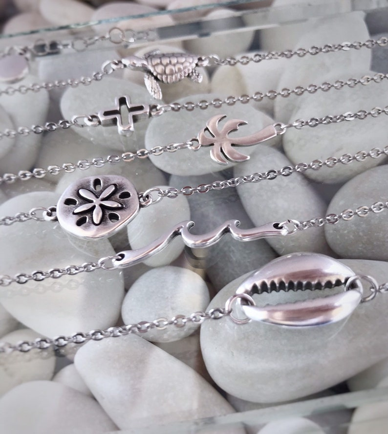 Gift for women Initial bracelet Anklet chain with silver charm Personalised gift