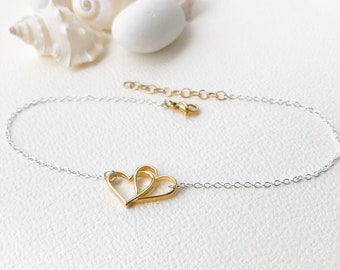 Heart Anklet Gold Charm Hearts, Beach Anklet Gift for Bridesmaids Ankle Bracelet, 24K Gold Plated Charm Anklet Chain Silver Anklet for Women