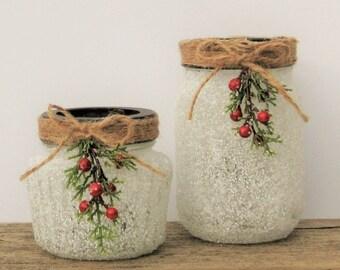 Snowy Mason Jar Candle Holder with Flameless LED Tea Light
