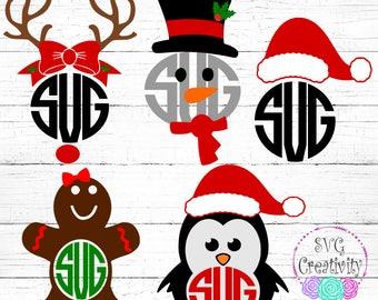 christmas monogram bundle svg christmas monogram borders svg christmas monograms svg - Christmas Monograms