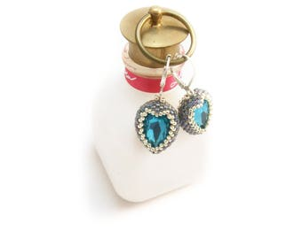 Blue heart earrings made to order