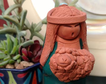 Ceramic Sheep Girl, pottery, southwest clay sculpture