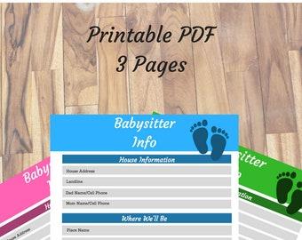 er contact list nanny daycare babysitter emergency etsy