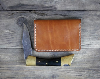 Arkän Minimalist Wallet - Handmade Vegetable Tanned Italian Leather - Dark