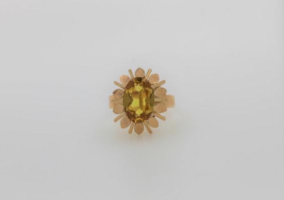 14k Gold Citrine Ring November Birthstone Vintage