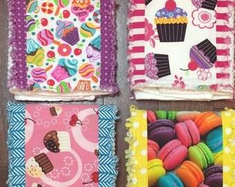 Set of 4 Boutique Burp Cloths - Sweet Shoppe Theme
