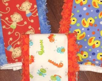 Set of 3 Boutique Burp Cloths - Baby Basics Theme