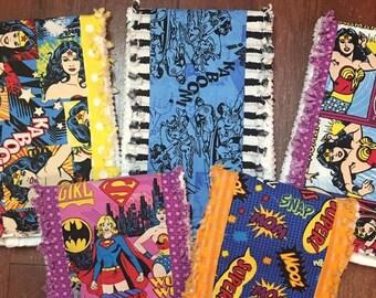 Set of 5 Boutique Burp Cloths - Super Girl Theme