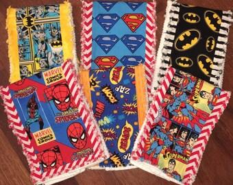 Set of 6 Boutique Burp Cloths - Super Dude Theme