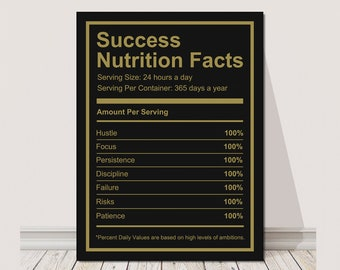 Success Nutrition Facts Canvas Wall Art Print Motivational Office Decor  Modern Inspiration Decoration Inspirational Entrepreneur Motivation
