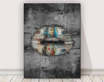 f18f95ad41f 100 Dollars Lips Canvas Print Office Decor Entrepreneur Modern Art Wall  Money Pop Art Lips Entrepreneurship Hustle Motivational Art Grind