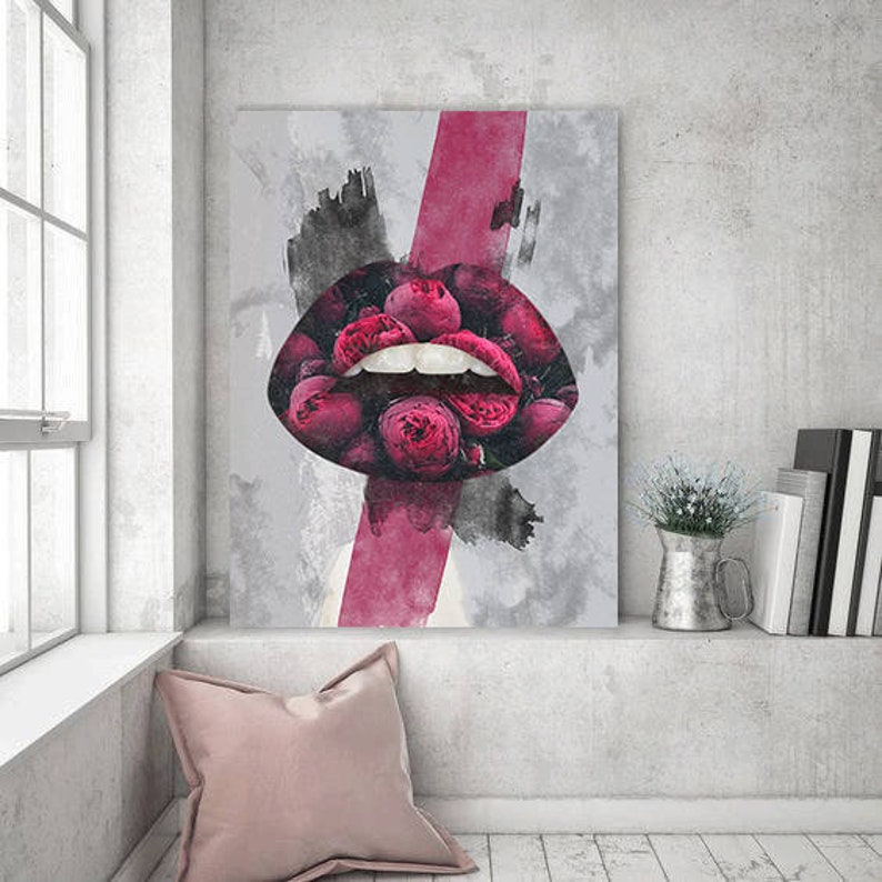 Roses Lips Canvas Print Home Interior Office Decor Flowers Modern Art Decal  Wall House Decoration Pop Culture Art Prints Livingroom Gift