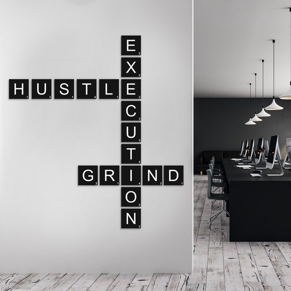 18 Piece Hustle Grind Execution Crossword Puzzle Office Decor Etsy