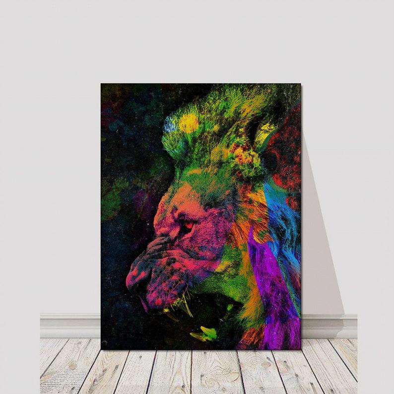 office lion art inspiration canvas print wall decor modern art etsy rh etsy com