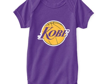 d9f09a46e069 Kobe Bryant Baby Bodysuit Los Angeles Lakers Logo Parody Black Mamba  Classic Showtime Icon Shaq Retro Emblem Purple Newborn 6 12 18 24 Mo.