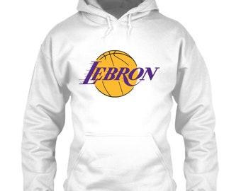 7bc860ef6c9 LeBron James Hoodie Los Angeles Lakers Logo Parody White Size M L XL 2XL  3XL 4XL 5XL Classic Retro Showtime Icon Kobe Shaq Throwback Emblem