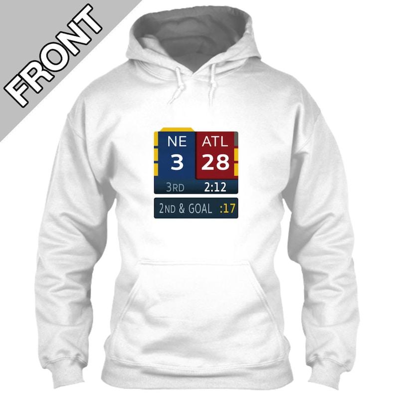 size 40 f38fa f7033 New England Patriots Hoodie 28-3 Super Bowl LI 51 Scoreboard White Size S M  L XL 2XL 3XL 4XL 5XL Tom Brady Pats Falcons Fox Score Bug OT nfl