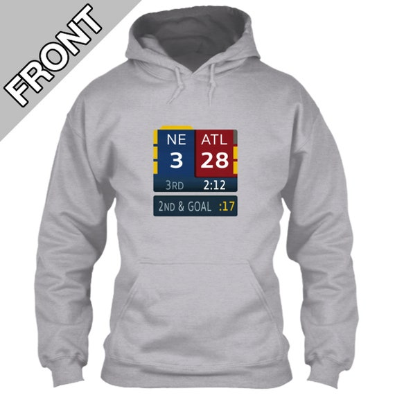 New England Patriots Hoodie 28 3 Super Bowl LI Scoreboard Tom Brady Atlanta Falcons Fox TV Graphic Bug Gray Grey Size M L XL 2XL 3XL 4XL 5XL
