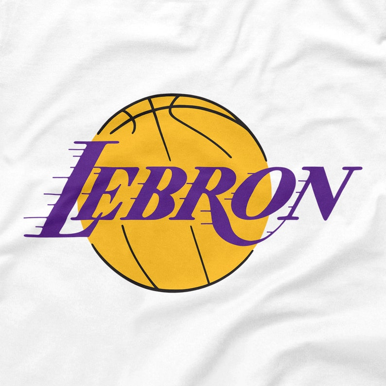 best service 9daf6 c3b41 LeBron James Shirt Los Angeles Lakers Logo Parody White Size S M L XL 2XL  3XL 4XL 5XL Classic Retro Showtime Icon Kobe Shaq Throwback Emblem
