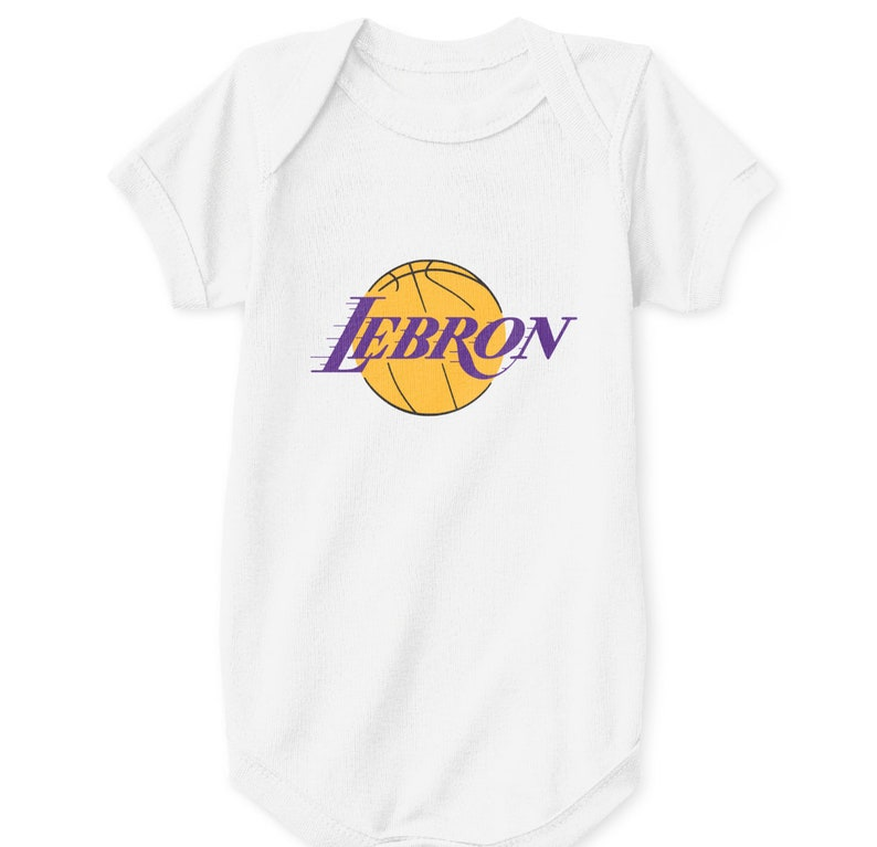 promo code f61b6 63664 LeBron James Baby Bodysuit Los Angeles Lakers Logo White Size Newborn 6 12  18 24 Mos. Classic Retro Showtime Icon Kobe Shaq Throwback Emblem